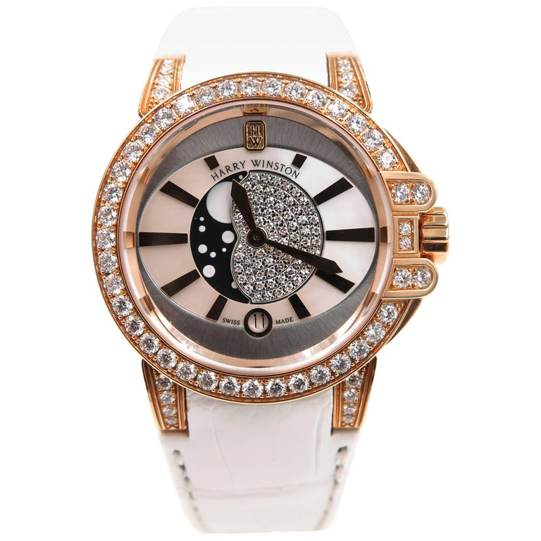 Harry Winston Ladies Rose Gold Ocean Quartz Wristwatch