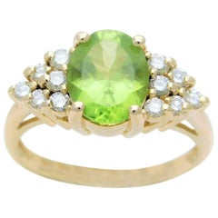 Vintage 3 Carat Peridot and Diamond Cocktail Ring