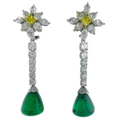 Emerald Diamond and Fancy Yellow Color Diamond Ear Pendants