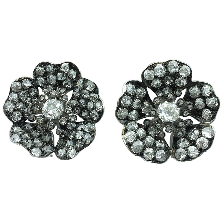Antique Flower Diamond Platinum and Gold Earrings