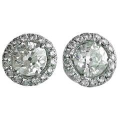 Pair of Diamond Stud Earrings on White Gold