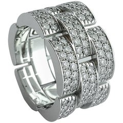Cartier Panther Diamond White Gold Band Ring
