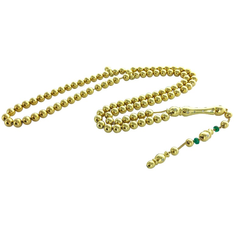 1960s Emerald Diamond Fancy Yellow Color Diamond Yellow Gold Necklace