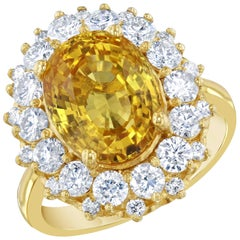 9.19 Carat Yellow Sapphire Diamond Cocktail Ring