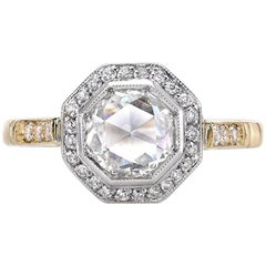 Two-Tone Rose Cut Diamond Engagement Ring