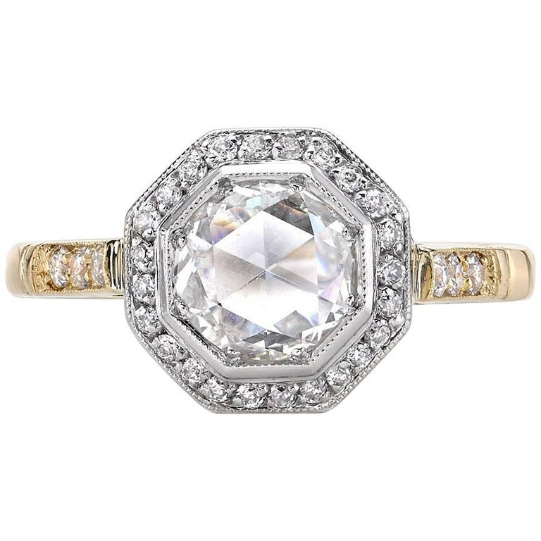 Two-Tone Rose Cut Diamond Engagement Ring