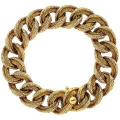 1960s Mellerio Paris Modernist Curblink Textured Gold Bracelet