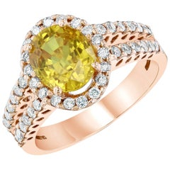 3.29 Carat Yellow Sapphire Diamond Rose Gold Ring