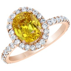 3.35 Carat Yellow Sapphire Halo Diamond 14 Karat Rose Gold Engagement Ring