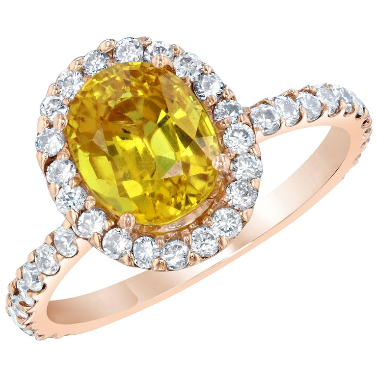 3.35 Carat Yellow Sapphire Halo Diamond Ring For Sale