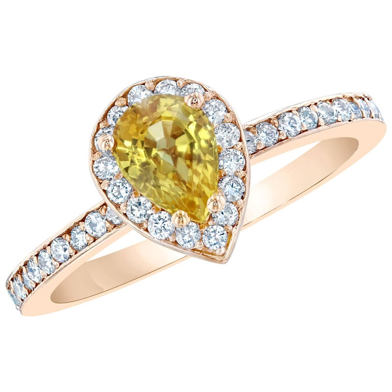 1 24 Carat Pear Cut Yellow Sapphire Diamond Ring For Sale at 1stdibs