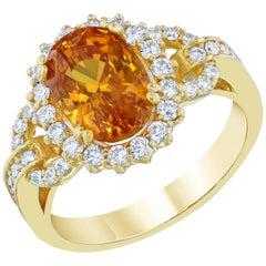GIA Certified 5.13 Carat Orange Sapphire Diamond Cocktail Ring