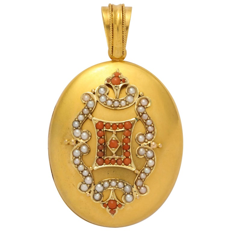 Antique Victorian Regal Natural Pearl Coral Gold Locket