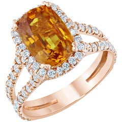 5.80 Carat Sapphire Diamond Ring