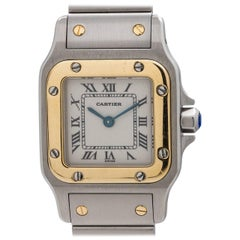 Cartier Ladies Gold Stainless Steel Santos Galbe Quartz Wristwatch, circa 2000