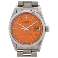 Rolex Stainless Steel Oyster Perpetual Orange Sherbert Automatic Wristwatch