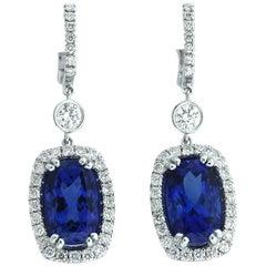 Tanzanite Diamond White Gold Drop Earrings