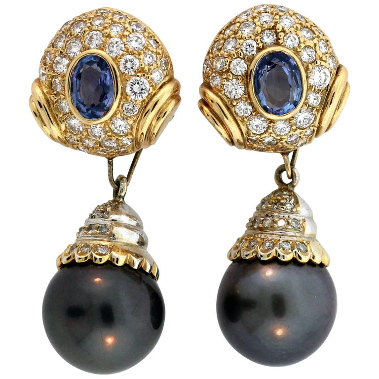 Blue Sapphire Black Pearl Diamond Yellow Gold Drop Earrings