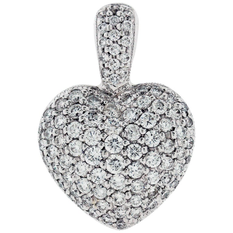 Pavé Set Diamond Gold Heart Enhancer Pendant