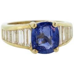 4.36 Carat AGL Certified Ceylon Blue Sapphire Baguette Diamond Ring