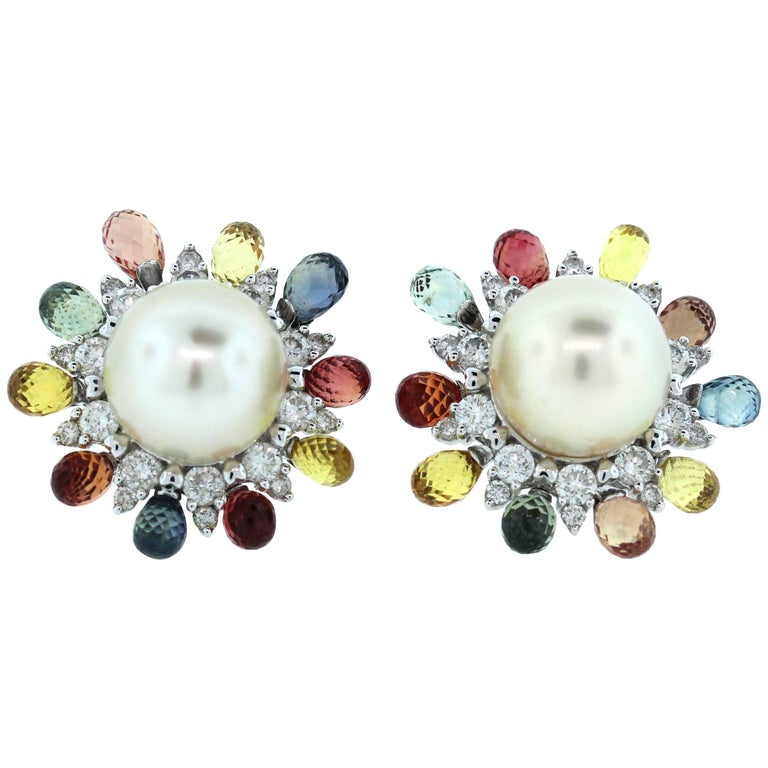 Gorgeous Pearl Diamond Sapphire Gold Stud Earrings