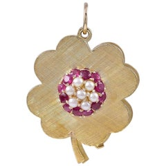 Gold Ruby and Pearl Eight-Picture Locket