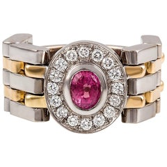 Kian Design Handmade Two-Tone Padparadascha Pink Sapphire and Diamond Ring