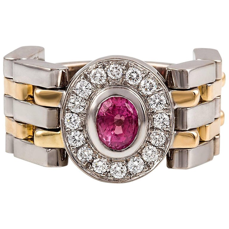 Kian Design Handmade Two-Tone 0.98 Carat Padparadascha Sapphire & Diamond Ring For Sale