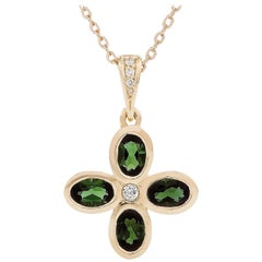 Kian Design 18 Carat Yellow Gold Tourmaline and Diamond Cross Necklace