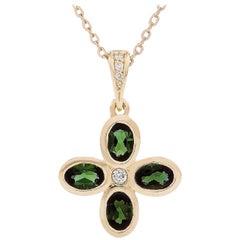 Kian Design 18 Carat Yellow Gold Tourmaline and Diamond Necklace