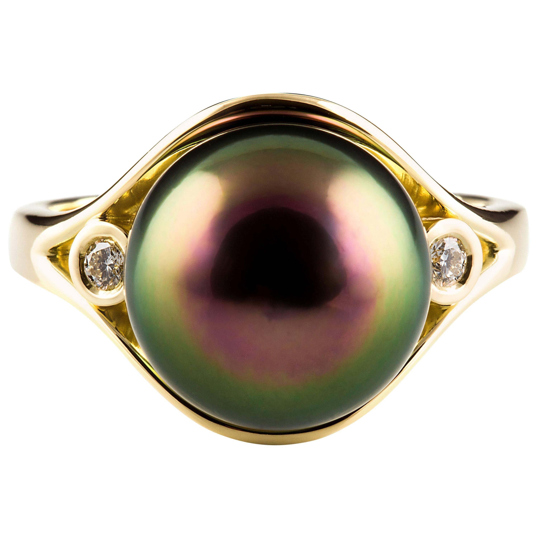 Kian Design Tahitian Pearl  Diamond  Yellow Gold  Ring
