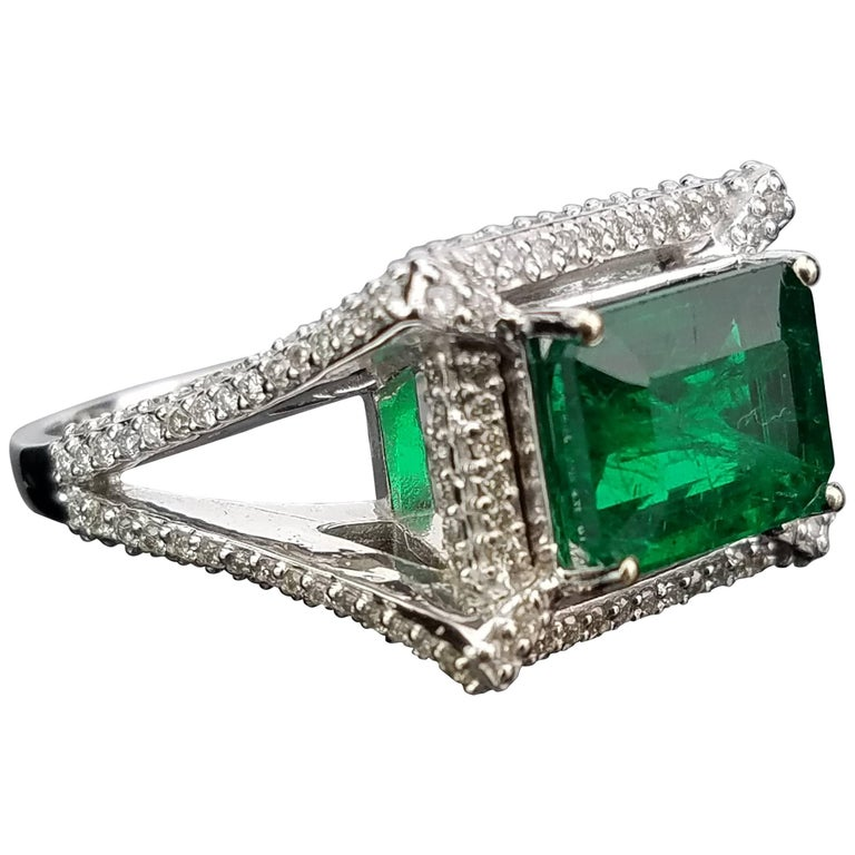 3.16 carat Emerald and Diamond Cocktail Ring
