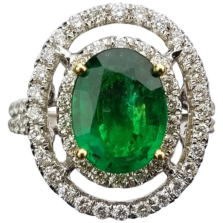 White Gold Oval Zambian Emerald and Diamond Cocktail Ring