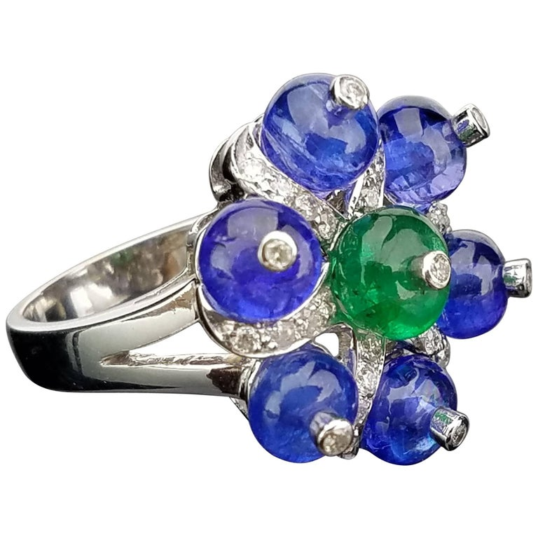 White Gold Tanzanite, Zambian Emerald and Diamond Cocktail Ring For Sale