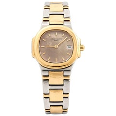 Patek Philippe Ladies yellow Gold stainless Steel Nautilus Quartz Wristwatch