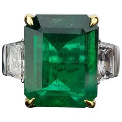 Zambian Emerald with Diamond side stone Cocktail Ring