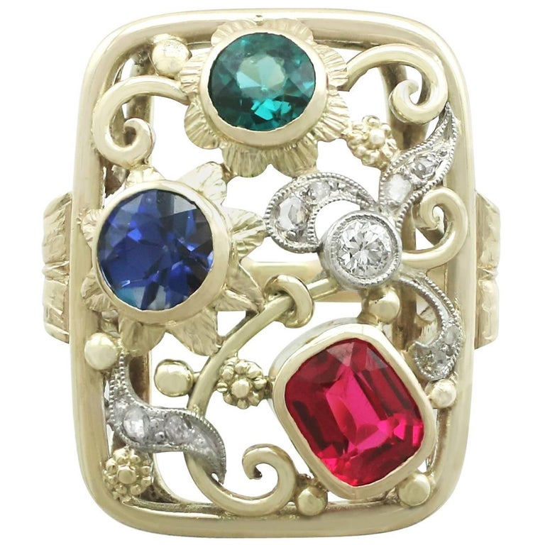 Synthetic Ruby Sapphire 0.48 Carat Zircon Diamond 14 Karat Gold Cocktail Ring For Sale