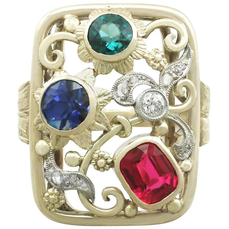 Synthetic Ruby Sapphire 0.48 Carat Zircon Diamond 14 Karat Gold Cocktail Ring 1