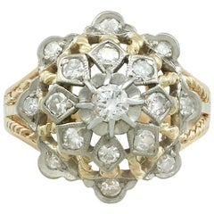 1940s 0.70 Carat Diamond 18 Karat Yellow Gold 18 Karat White Gold Set Dress Ring