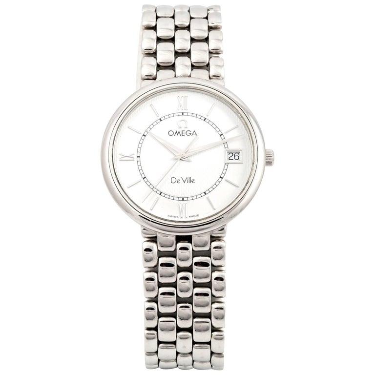 Omega stainless Steel White dial City Quartz Wristwatch