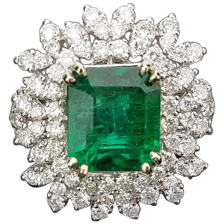 White Gold Zambian Emerald Ring with Diamond Cocktail Ring