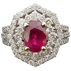 Oval Mozambique Ruby and Diamond Cocktail Ring