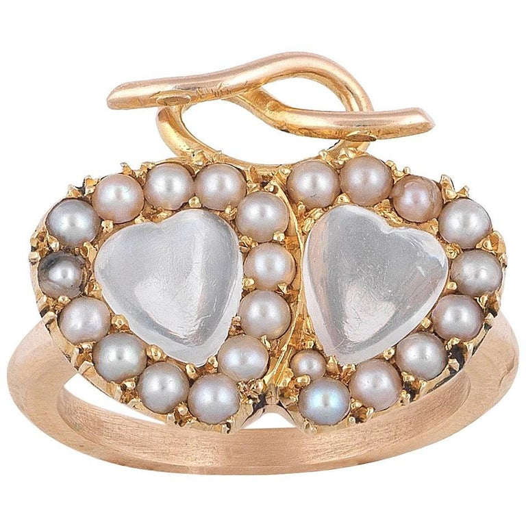 Late Victorian Moonstone Pearl Gold Twin Heart Cluster Ring For