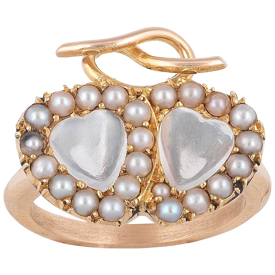 Late Victorian Moonstone Pearl Gold Twin Heart Cluster Ring