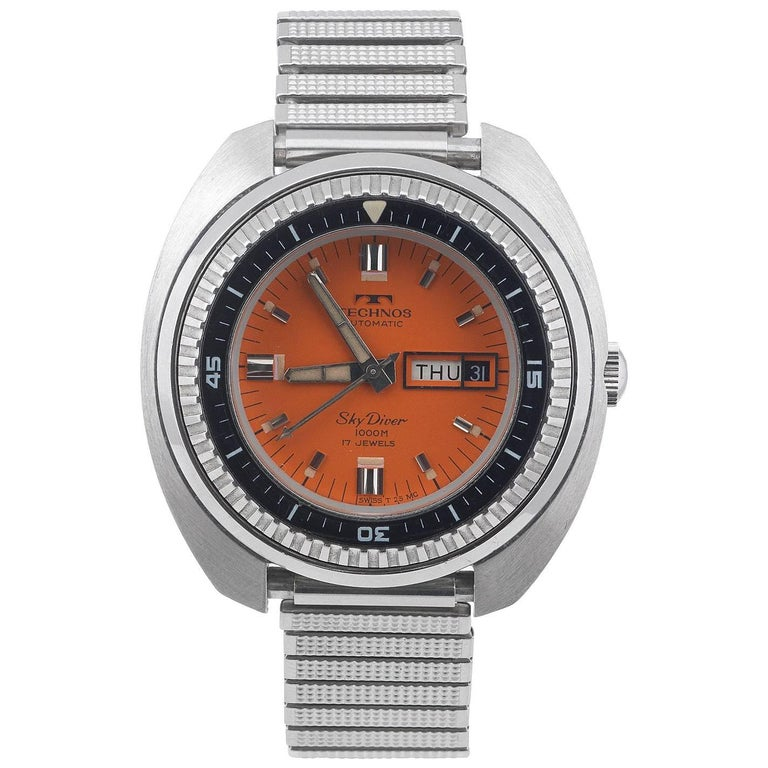 Technos stainless steel skydiver orange dial automatic wristwatch ref 10709 for sale at 1stdibs for Technos watches
