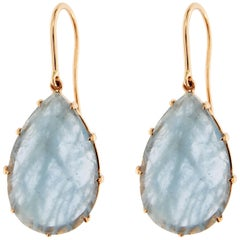 Jona Aquamarine 18 Karat Yellow Gold Pendant Earrings