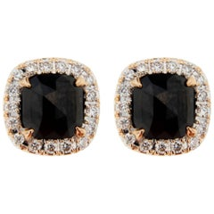 Jona Rose Cut Black Diamond White Diamond 18 Karat Rose Gold Stud Earrings