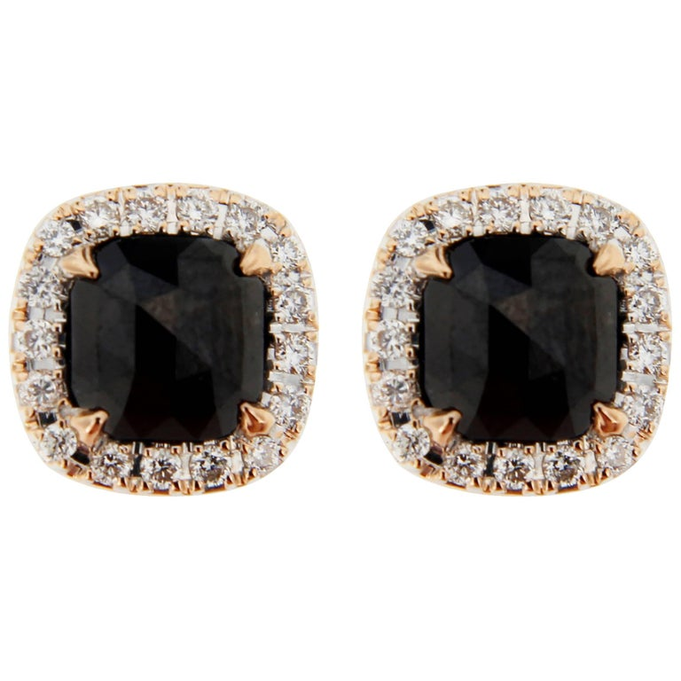 Jona Rose Cut Black Diamond White Diamond 18 Karat Rose Gold Stud Earrings For Sale