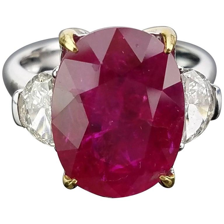 Gubelin Certified 8.00 Carat No Heat Burma Ruby Diamond Ring
