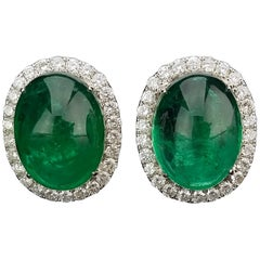 Zambian Emerald Cabochon and Diamond Studs Earring